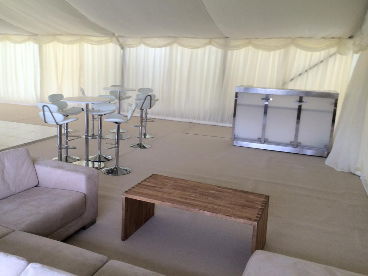Dining area, bar and lounge, kitchens, refrigeration and more for your wedding marquee.